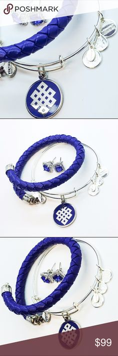Alex and Ani Bundle Set of 2 and Set of Earrings Alex and Ani Bundle Set of 2                                    Braided Leather Wrap- Ultramarine                         Endless Knot- Blue Epoxy, EWB, SS                                                                               Set of Sterling Silver Synthetic Sapphire and CZ Micro Pave Filigree Stud Earrings Alex & Ani Jewelry Bracelets