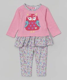 Another great find on #zulily! Pink Owl Peplum Tunic & Floral Leggings #zulilyfinds