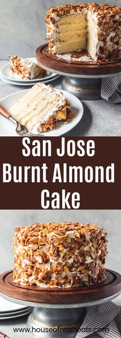 A Burnt Almond Cake is a rustic-looking layer cake, filled with almond pastry cream, slathered in the BEST Swiss meringue buttercream frosting, then covered in candied almonds. It's famous in San Jose and is a favorite for those of us from the California Easy Cake Recipes, Cupcake Recipes, Sweet Recipes, Cupcake Cakes, Dessert Recipes, Coffecake Recipes, Burnt Almond Cake Recipe, Burnt Almond Torte Recipe, Köstliche Desserts