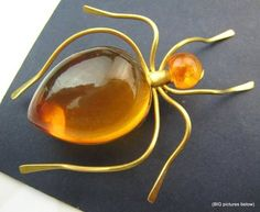 Vintage Brooch Pin JELLY BELLY Bug Spider Amber Colored Lucite