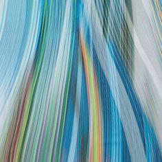 Italian Green and Blue Striated Printed Cotton Voile   Mood Designer Fabrics