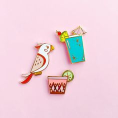 Add a tropical touch to your #PinGame!   This set includes 3 tiki-inspired pins:  - Pink Tropical Pin - Retro Cocktail, Tropical Blue - Retro