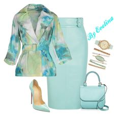 A fashion look from July 2017 featuring double breasted blazer, high-waisted pencil skirts and high heel pumps. Browse and shop related looks. I Love Fashion, Modest Fashion, Skirt Fashion, Fashion Dresses, Fashion Looks, Womens Fashion, Midi Dresses, Komplette Outfits, Skirt Outfits