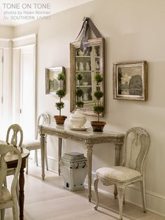 Tone on Tone | photo by Helen Norman for Southern Living | interior design and Swedish Gustavian Antiques by Loi That