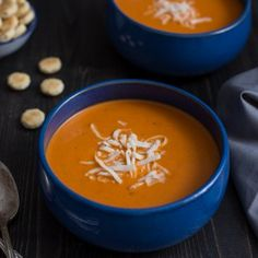 This Roasted Red Pepper Smoked Gouda soup is intensely flavorful and velvety smooth. The hint of smoke from the gouda gives this soup a rich depth of flavor. Roasted Red Pepper Soup, Roasted Red Peppers, Stuffed Pepper Soup, Stuffed Sweet Peppers, New Recipes, Soup Recipes, Recipies, Vegan Recipes, Favorite Recipes