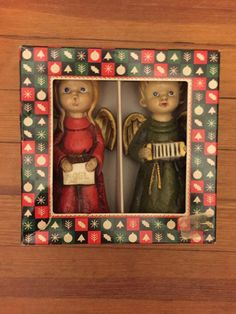 Vintage Hand Painted Paper Mache Angel Christmas Carolers made in Japan for Holmar International Corp New York, NY Item #9401 Papier-mâché