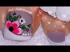 Uñas de los pies decoradas con flor, fácil de hacer/Diseño de uñas pie con flor paso a paso - YouTube Flower Nail Designs, Toe Nail Designs, Jily, Pedicure Nail Art, Flower Nails, Toe Nails, Make It Yourself, Youtube, Nice Nails