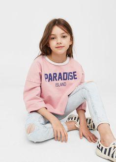 Text crop sweatshirt | MANGO KIDS Teenage Girl Outfits, Cute Girl Outfits, Kids Outfits Girls, Cute Outfits For Kids, Tween Girls, Preteen Fashion, Fashion Kids, Fashion Fashion, Zara Kids