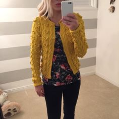 Adrienne Vittadini Pom Pom sweater Yellow Pom Pom button up sweater. Size M but fits like a small. Adrienne Vittadini Sweaters