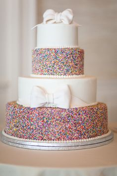Confetti and bow cake: http://www.stylemepretty.com/2013/11/22/northport-maine-wedding-from-meredith-perdue/ | Photography: Meredith Perdue - http://www.meredithperdue.com/
