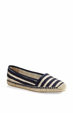 Striped espadrille flat available at #SchushopABQ