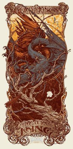 One poster to rule them all. Check out this sweet new Lord Of The Rings poster from Alamo Drafthouse Cinema's Mondo Mystery Movie X LOTR screening. O Hobbit, Hobbit Art, Poster Series, Book Series, Art Et Illustration, Alphonse Mucha, Middle Earth, Lord Of The Rings, Illustrations Posters