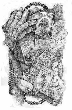 """""""My Family Garden"""" original, stippled ink drawing of the birthflowers of each of my five grandchildren - read it's story at flying shoes art studio"""