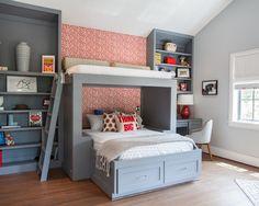 Quartos modernos decorados cama beliche ,Bicama e Trliche, Fotos Simples quarto pequeno Beliche, para jovens com escrivaninha,Juvenil infantil ou Planejado