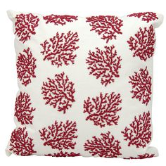 Add a splash of coastal charm to your porch swing or living room seating group with this stylish pillow, showcasing a beaded coral motif.