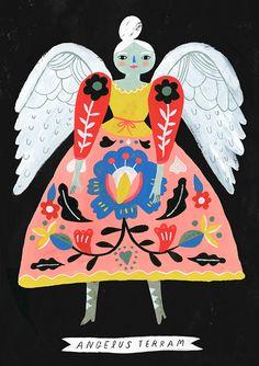 Earth Angel print by Sarah Walsh Tiger Sheep Etsy shop