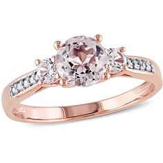10k Rose Gold 1.15 cttw Morganite and Created White Sapphire with 0.05... ($274) ❤ liked on Polyvore