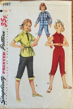 VTG 4987 Simplicity 1954 girl's  Shirt with by ThePatternParlor
