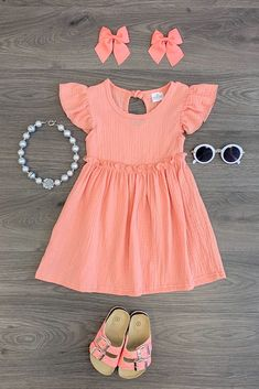 Little Girl Outfits, Toddler Girl Outfits, Toddler Dress, Baby Dress, Kids Outfits, Baby Girl Fashion, Toddler Fashion, Kids Fashion, Coral Pink Dress