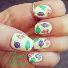 Floral Nail Art tutorial by jenniestamp.com