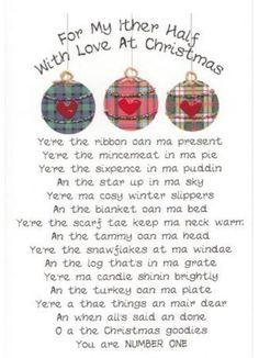 A couple of Scottish Ditties for Christmas SL - lucy Christmas Poems, Christmas Cards To Make, Christmas Love, Christmas Birthday, Christmas Humor, Xmas, Christmas Couple, Scottish Thistle, Scottish Tartans