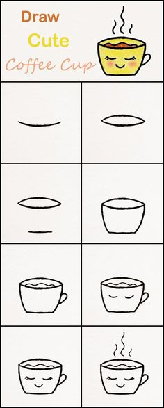 Learn how to draw a cute Cup of Coffee step by step ♥ very simple tutorial coffee drawings kawaii tutorial Easy Drawing Tutorial, Easy Drawing Steps, Drawing Tutorials For Kids, How To Draw Steps, Step By Step Drawing, Drawing For Kids, Learn To Draw, Drawing Ideas, Drawing Base
