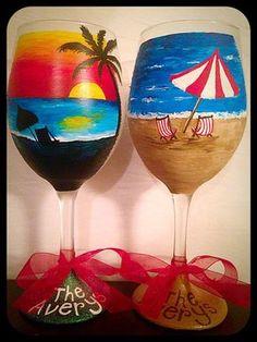 Beach Themed Wine Glasses Hand Painted Beach by WattsGoodArtistry