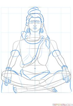 How to draw Lord Shiva step by step. Drawing tutorials for kids and beginners. Arte Shiva, Shiva Art, Krishna Art, Cool Car Drawings, Pencil Art Drawings, Art Drawings Sketches, Ink Illustrations, Lord Shiva Painting, Ganesha Painting
