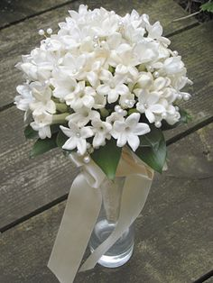 07-26-2016 white Stephanotis and pearl Bouquet - Love these little flowers!