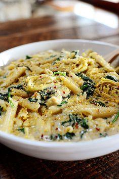 Spinach and artichoke pasta #recipe