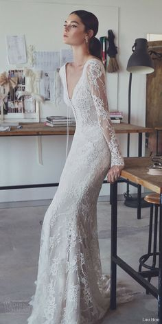 lihi hod 2017 bridal long sleeves v neck full embellishment beautiful elegant romantic trumpet mermaid wedding dress v low back sweep train (zoe) zv