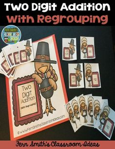 Thanksgiving Fun! Quick and Easy to Prep for Thanksgiving - Two Digit Addition With Regrouping Center Game - This math resource includes ~ Center cover, math center sign, four pages of playing cards, student directions and a self-checking answer key. #TpT #FernSmithsClassroomIdeas {paid}