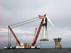Scaldis Rambis installing the Beatrice demonstrator turbines made by Senvion, previously REpower (Courtesy Scaldis).