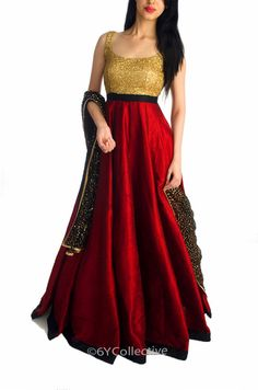 Burgandy Raw Silk Gown with Sequins  Rs. 5690 http://www.6ycollective.com/labels/heiress/products/1357