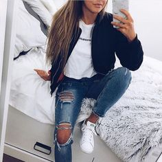 Bomber jacket White print Ripped jeans