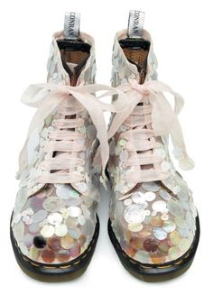 sequined docs with ribbon laces