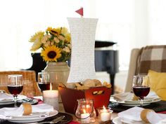 Kids will love helping to assemble this large sailing ship centerpiece for #Thanksgiving.
