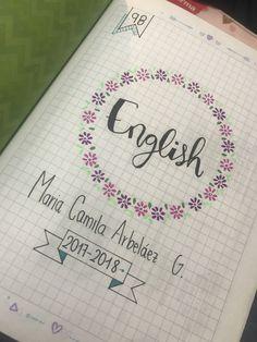 Imagen relacionada Bullet Journal Tracker, Bullet Journal School, Lettering Tutorial, Hand Lettering, School Labels, School Notebooks, Decorate Notebook, School Notes, Journal Layout