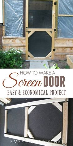 a Garden Screen Door This shows how to make a simple screened patio door using basic tools and lumber.Make a Garden Screen Door This shows how to make a simple screened patio door using basic tools and lumber. Outdoor Tools, Outdoor Tool Storage, Outdoor Projects, Diy Storage, Lumber Storage, Diy Deck, Diy Patio, Diy Jardin, Diy Screen Door