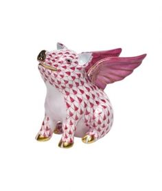 Might have to have this! Herend Flying Pig...