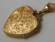 TRUE LOVE Antique Gold Locket Edwardian Heart Locket Necklace Wedding Anniversary Birthday Gift Jewelry in 2020 Cute Jewelry, Jewelry Gifts, Gold Jewelry, Women Jewelry, Fashion Jewelry, Jewlery, Heart Jewelry, Antique Locket, Antique Gold