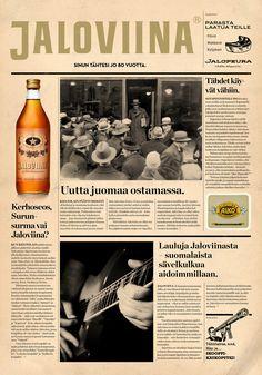 Jaloviina | Newspaper poster | design Newspaper, Wine, Drinks, Bottle, Poster, Design, Beverages, Flask, Drinking
