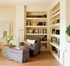 Living Room Designs, Living Room Decor, Urban Interior Design, Home Library Rooms, Open Kitchen And Living Room, Corner Bookshelves, Study Room Design, Room Corner, Home Office Decor