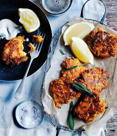 Carrot, pecorino and sage fritters recipe :: Gourmet Traveller Carrot Recipes, Veggie Recipes, Gourmet Recipes, Vegetarian Recipes, Cooking Recipes, Healthy Recipes, Canapes Recipes, Recipes Appetizers And Snacks, Party Snacks