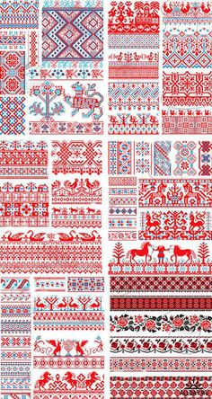 Русский орнамент вышивки Russian Embroidery, Embroidery Sampler, Folk Embroidery, Beaded Embroidery, Cross Stitch Embroidery, Embroidery Patterns, Cross Stitch Borders, Cross Stitch Patterns, Knitting Charts