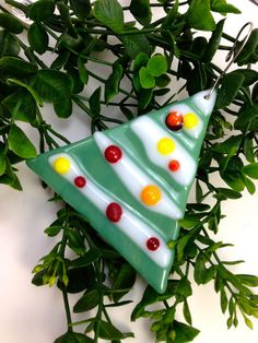 Fused  Glass Christmas Ornament  Decoration by Mtbaldyglassworks, $15.00