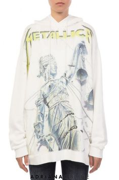 """Long oversized hoodie in white cotton-blend. Features drawstring hood and """"Metallica"""" yellow and blue print at front. Model is and is wearing a size XS. Sporty Outfits, Sporty Style, Sport Fashion, Womens Fashion, Comfy Hoodies, Metallica, Fan, Shirt Dress, Clothes For Women"""