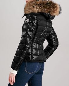 Moncler Short Puffer Jacket with Fur-Trimmed Hood - Neiman Marcus