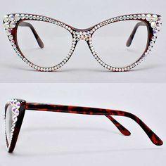 5d6e302d75 Divalicious CRYSTAL Cat Eye Glasses-Gold on Brown Frame new frames for me