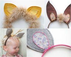 orejas animales para disfraces en diadema Orejas de fieltro. Objetivo:fiesta fin de curso